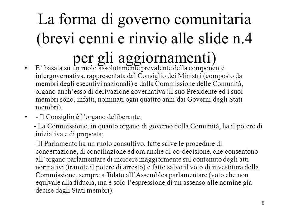 La forma di governo comunitaria (brevi cenni e rinvio alle slide n