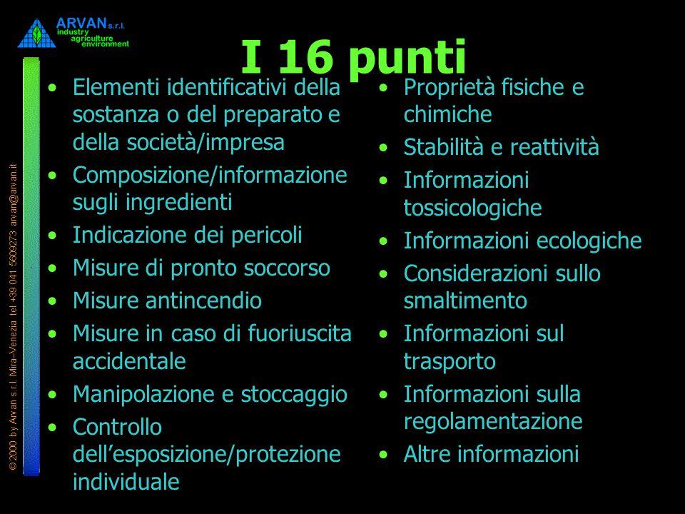 I 16 punti Elementi identificativi della sostanza o del preparato e della società/impresa. Composizione/informazione sugli ingredienti.