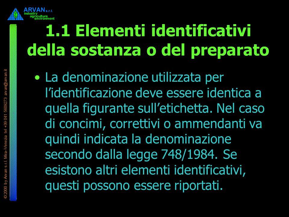 1.1 Elementi identificativi della sostanza o del preparato