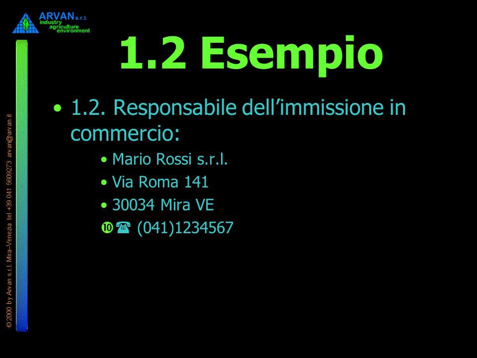 1.2 Esempio 1.2. Responsabile dell'immissione in commercio:
