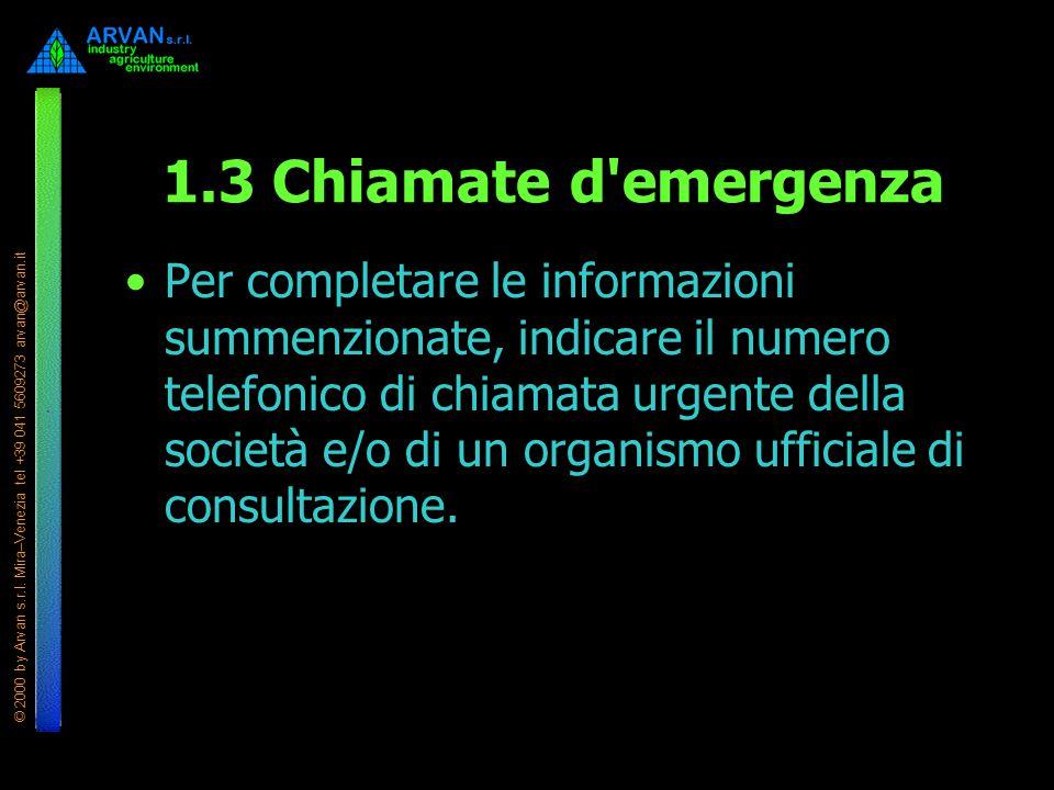1.3 Chiamate d emergenza