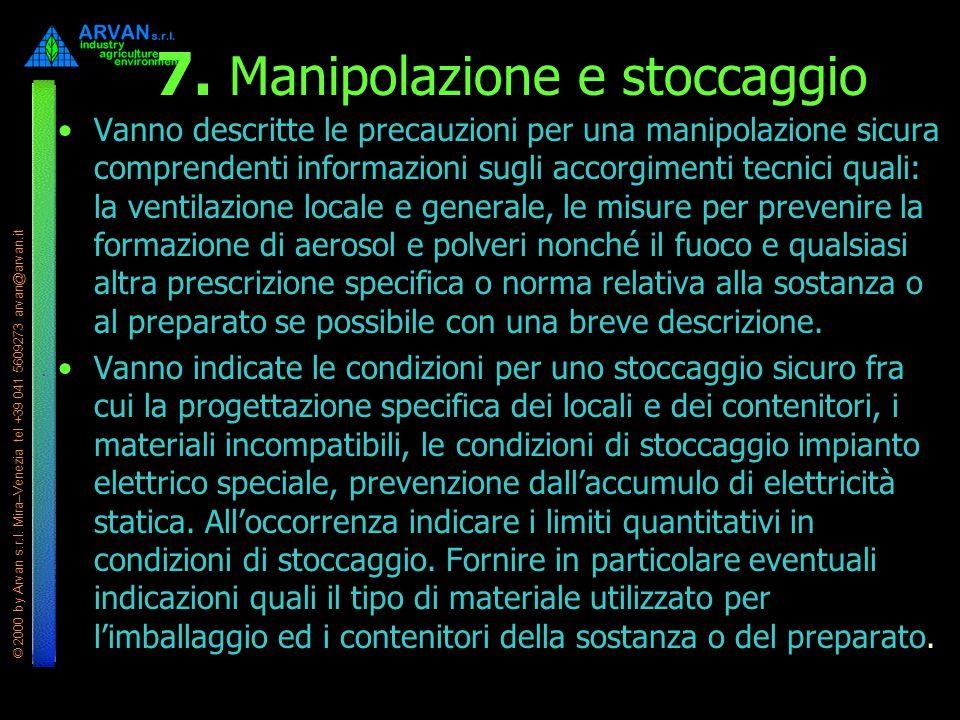 7. Manipolazione e stoccaggio