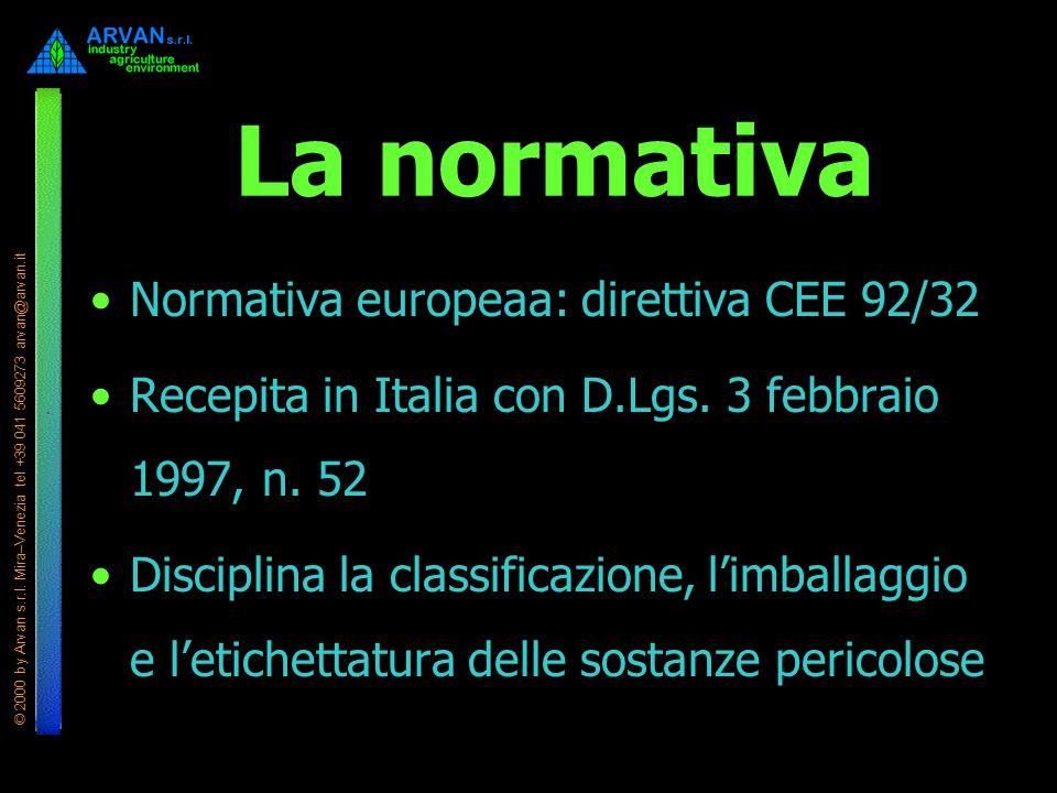 La normativa Normativa europeaa: direttiva CEE 92/32