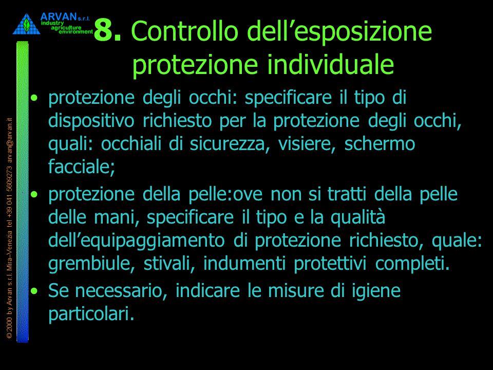 8. Controllo dell'esposizione protezione individuale