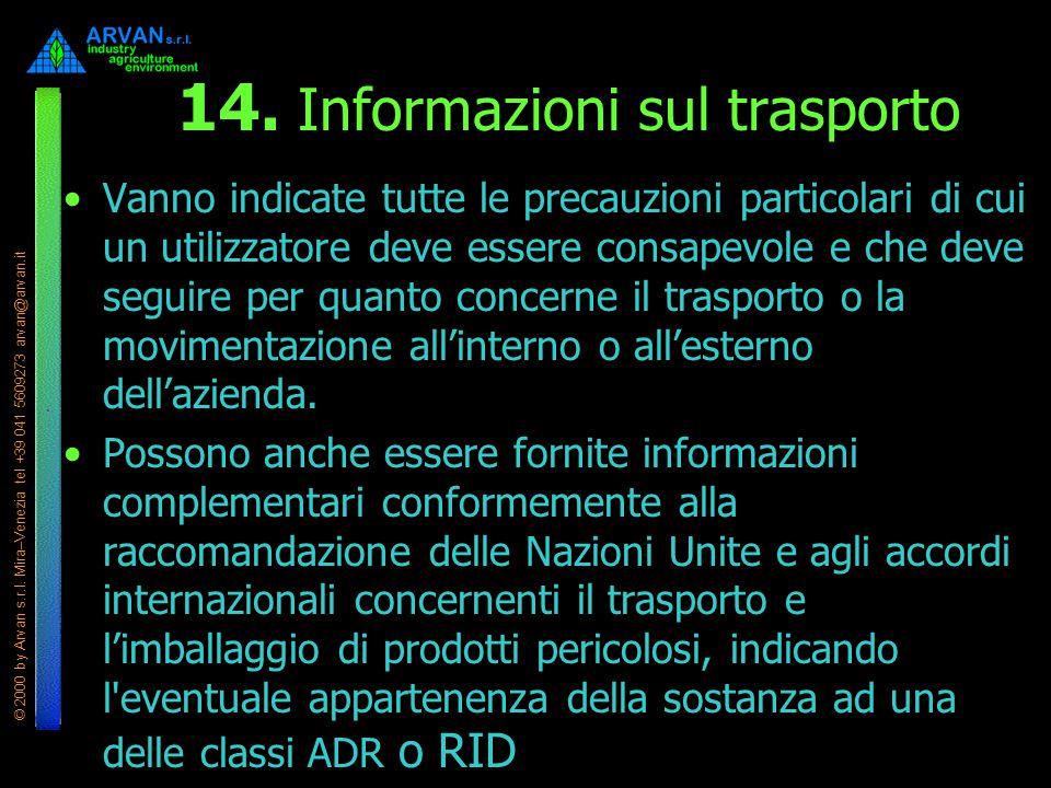 14. Informazioni sul trasporto