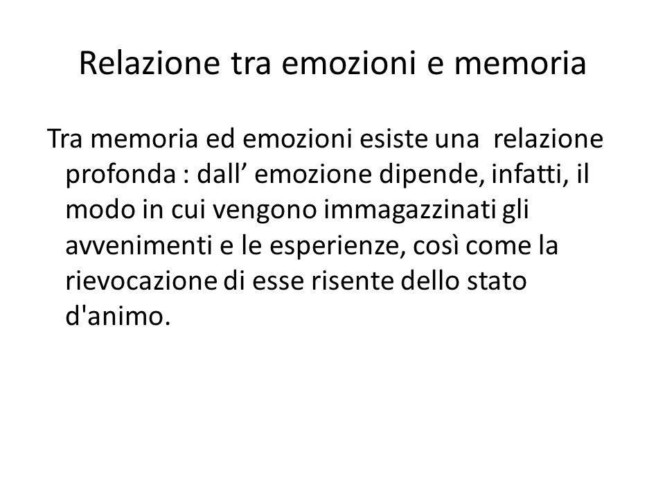 Relazione tra emozioni e memoria