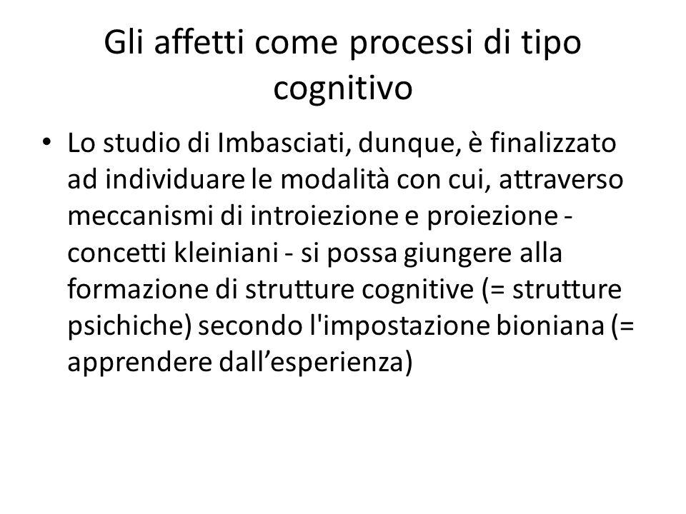 Gli affetti come processi di tipo cognitivo