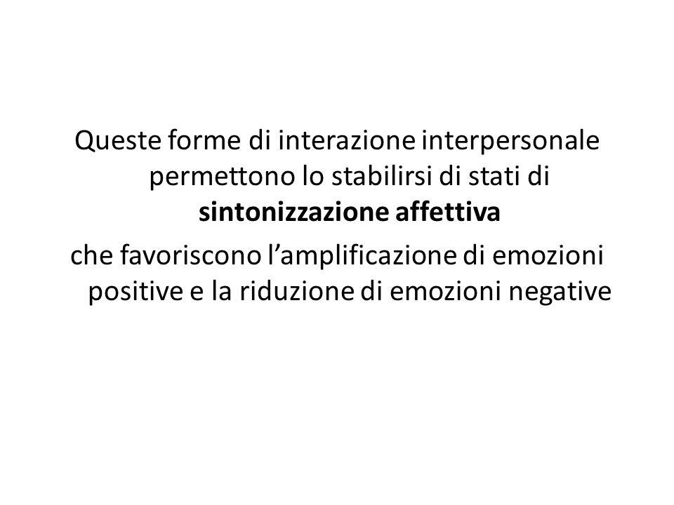 Queste forme di interazione interpersonale permettono lo stabilirsi di stati di sintonizzazione affettiva