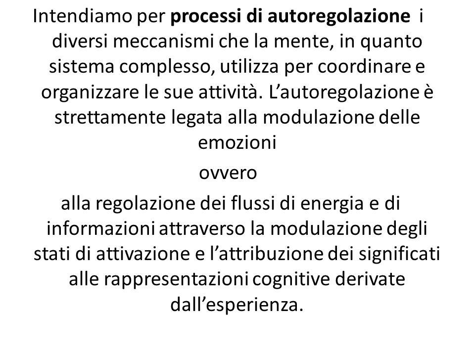 Intendiamo per processi di autoregolazione i diversi meccanismi che la mente, in quanto sistema complesso, utilizza per coordinare e organizzare le sue attività. L'autoregolazione è strettamente legata alla modulazione delle emozioni