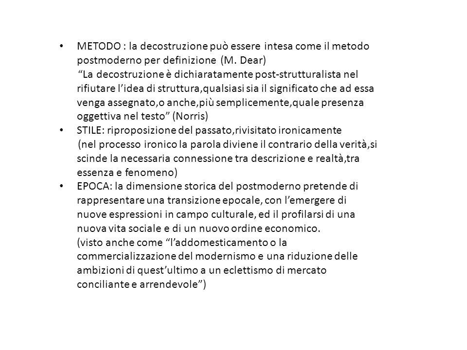 METODO : la decostruzione può essere intesa come il metodo postmoderno per definizione (M. Dear)