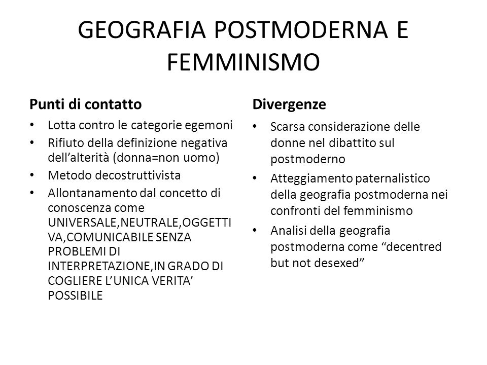 GEOGRAFIA POSTMODERNA E FEMMINISMO