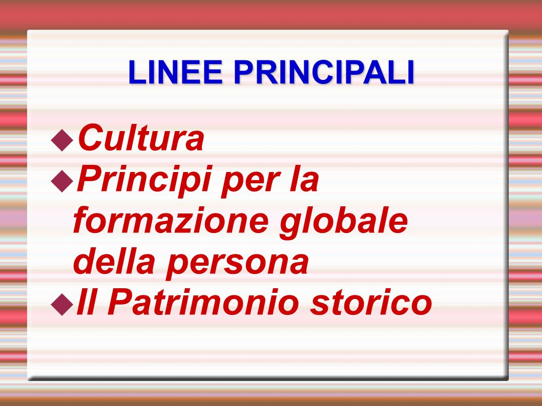 Principi per la formazione globale della persona
