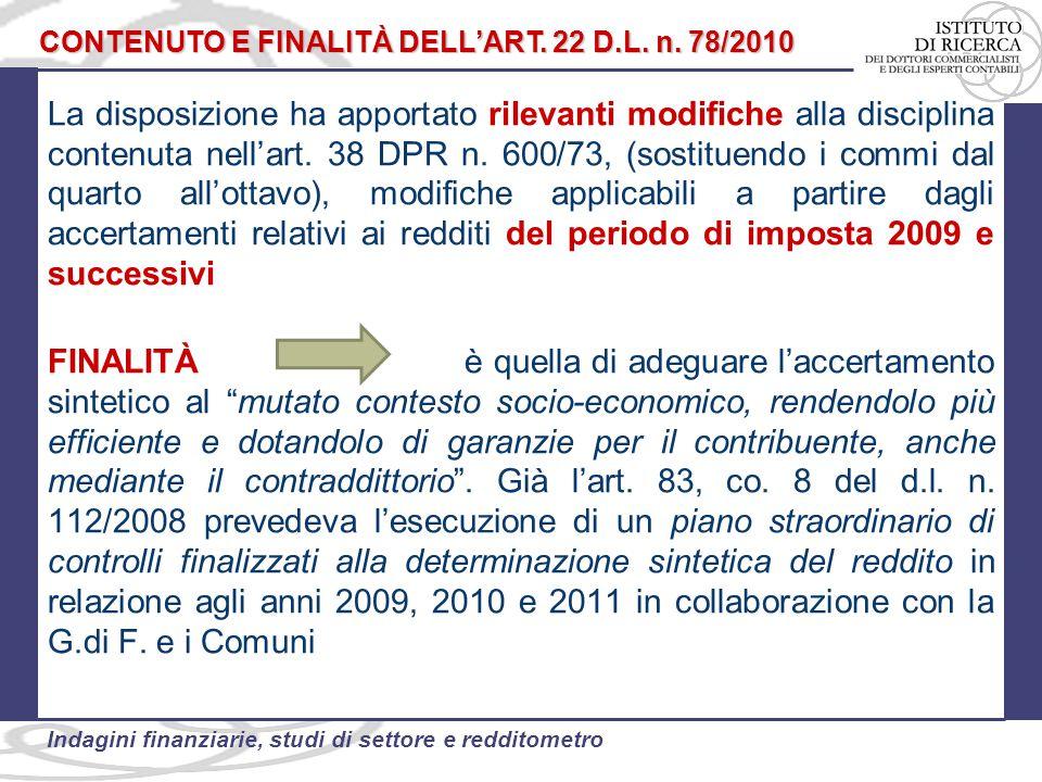 CONTENUTO E FINALITÀ DELL'ART. 22 D.L. n. 78/2010