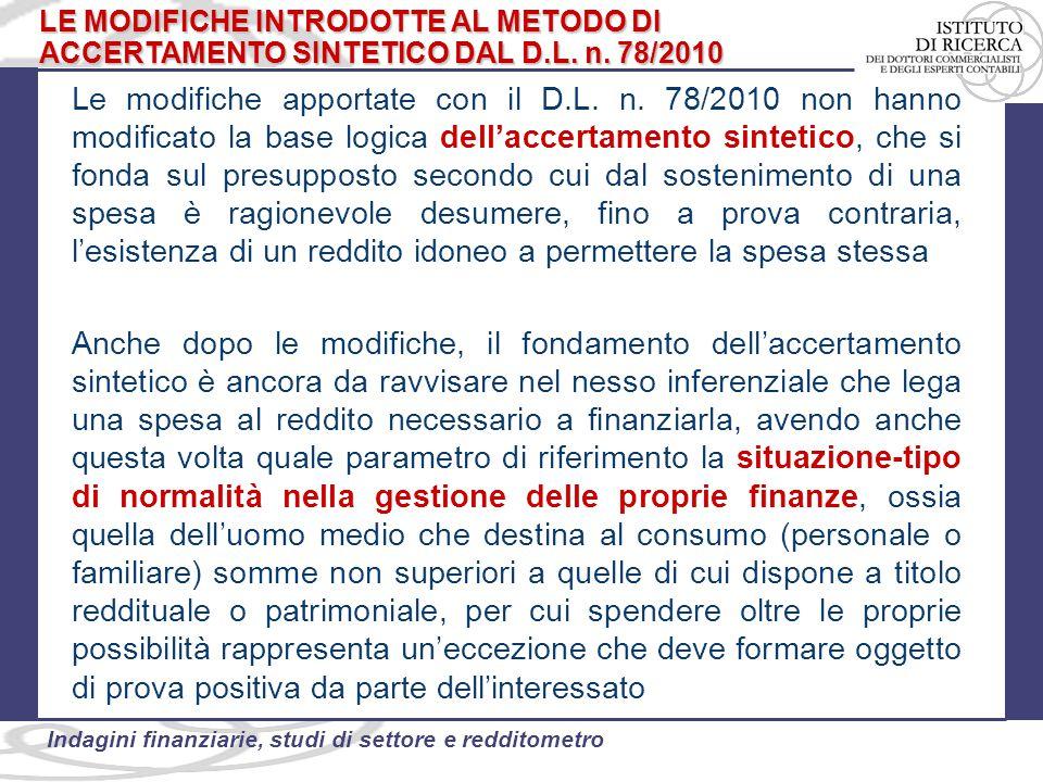 LE MODIFICHE INTRODOTTE AL METODO DI ACCERTAMENTO SINTETICO DAL D.L. n. 78/2010