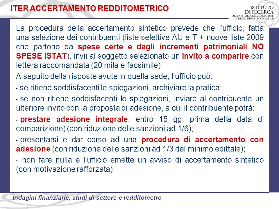 ITER ACCERTAMENTO REDDITOMETRICO