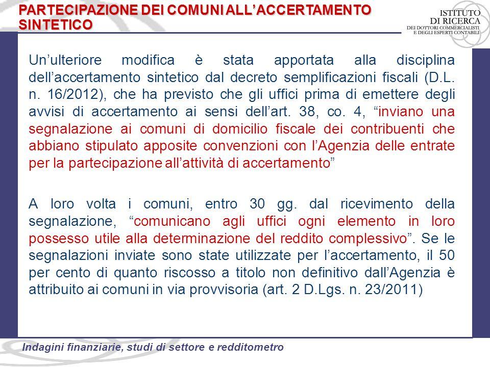 PARTECIPAZIONE DEI COMUNI ALL'ACCERTAMENTO SINTETICO