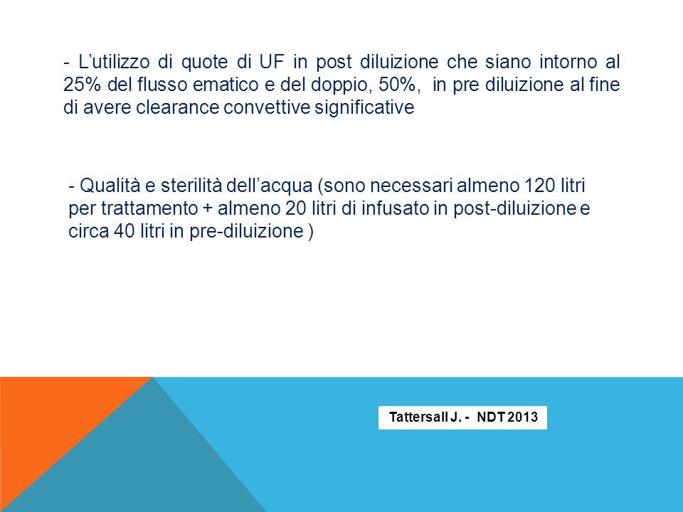 - L'utilizzo di quote di UF in post diluizione che siano intorno al 25% del flusso ematico e del doppio, 50%, in pre diluizione al fine di avere clearance convettive significative