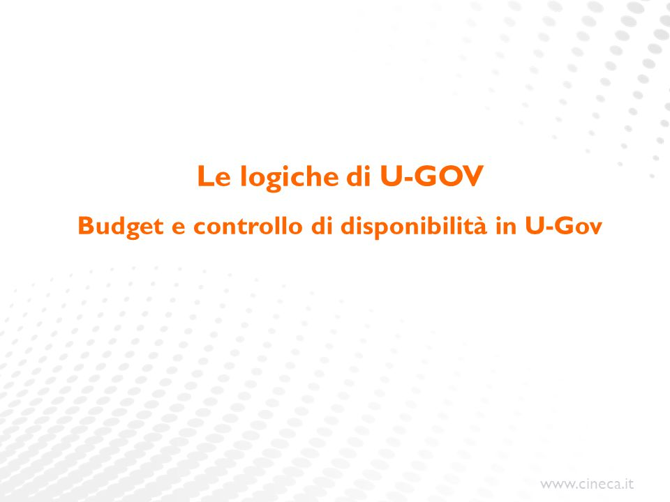 Budget e controllo di disponibilità in U-Gov