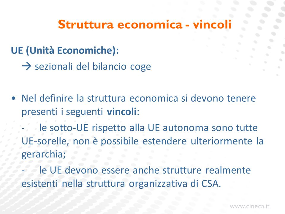 Struttura economica - vincoli