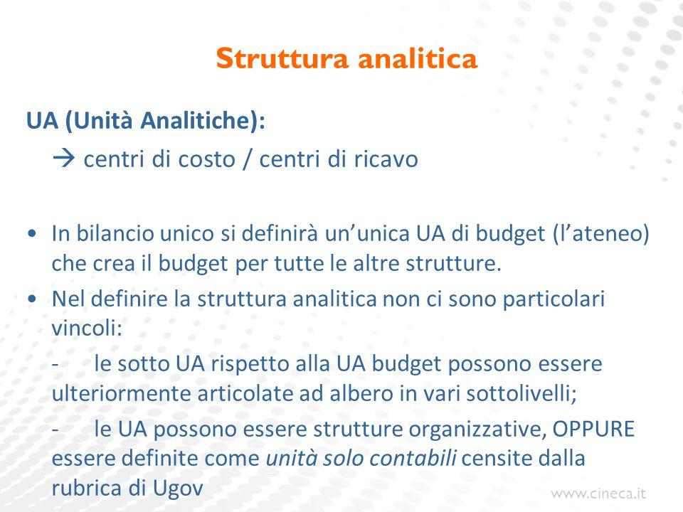 Struttura analitica UA (Unità Analitiche):
