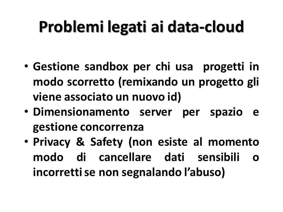 Problemi legati ai data-cloud