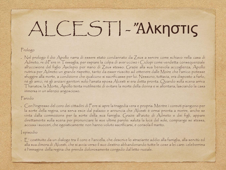 ALCESTI - Ἄλκηστις Prologo