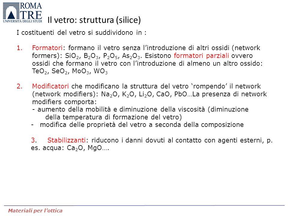 Il vetro: struttura (silice)