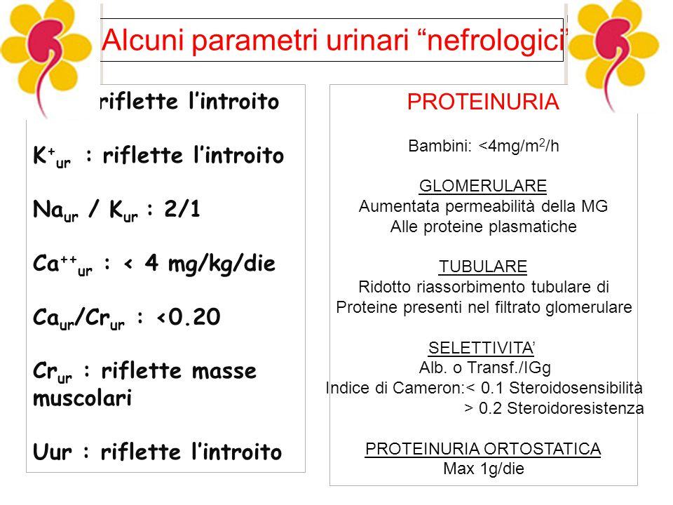 Alcuni parametri urinari nefrologici