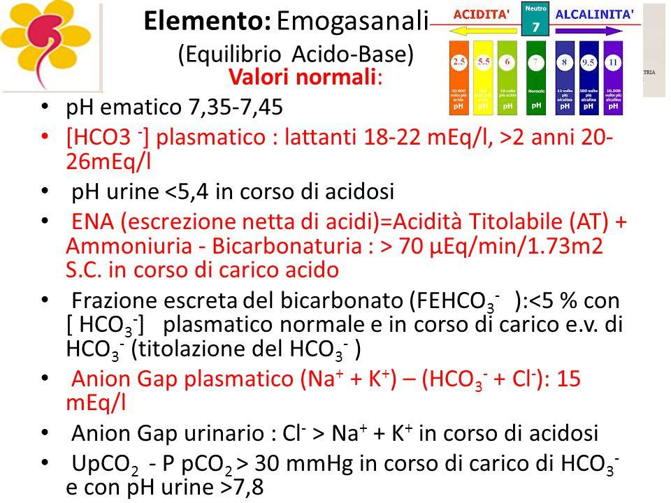Elemento: Emogasanalisi (Equilibrio Acido-Base)