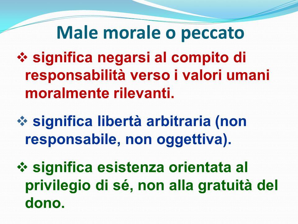 Male morale o peccato significa negarsi al compito di responsabilità verso i valori umani moralmente rilevanti.