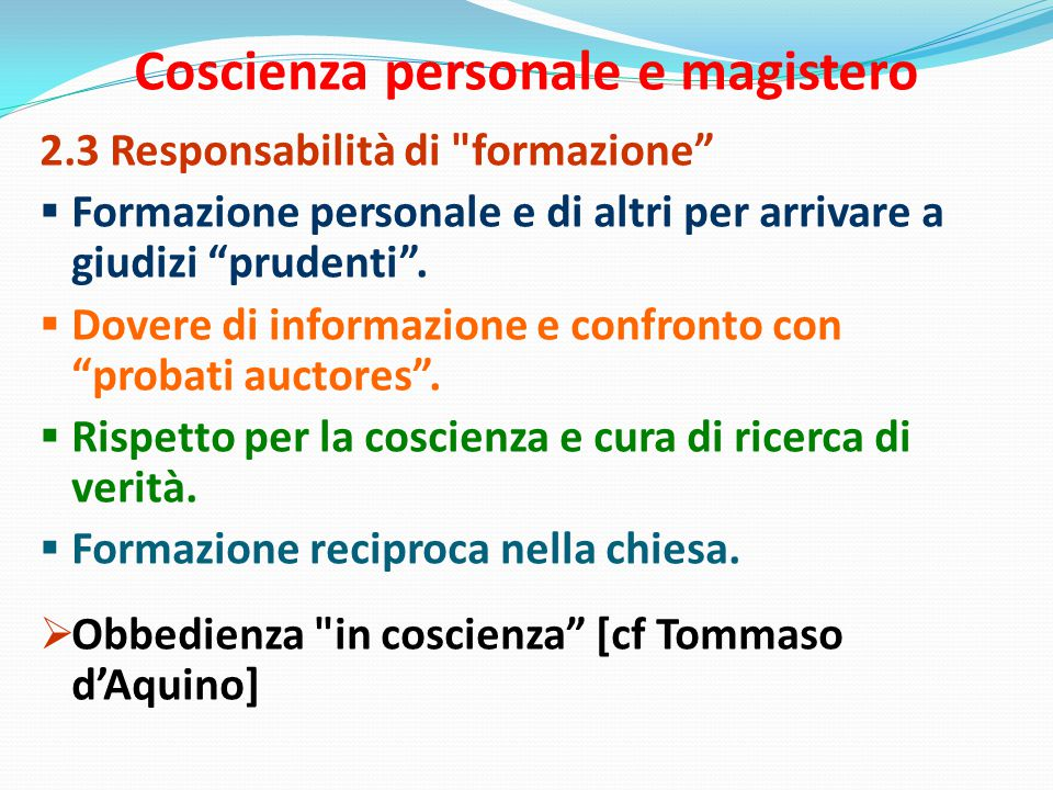 Coscienza personale e magistero