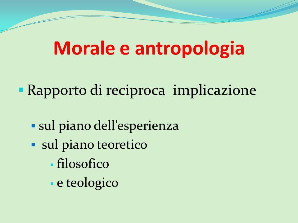 Morale e antropologia Rapporto di reciproca implicazione