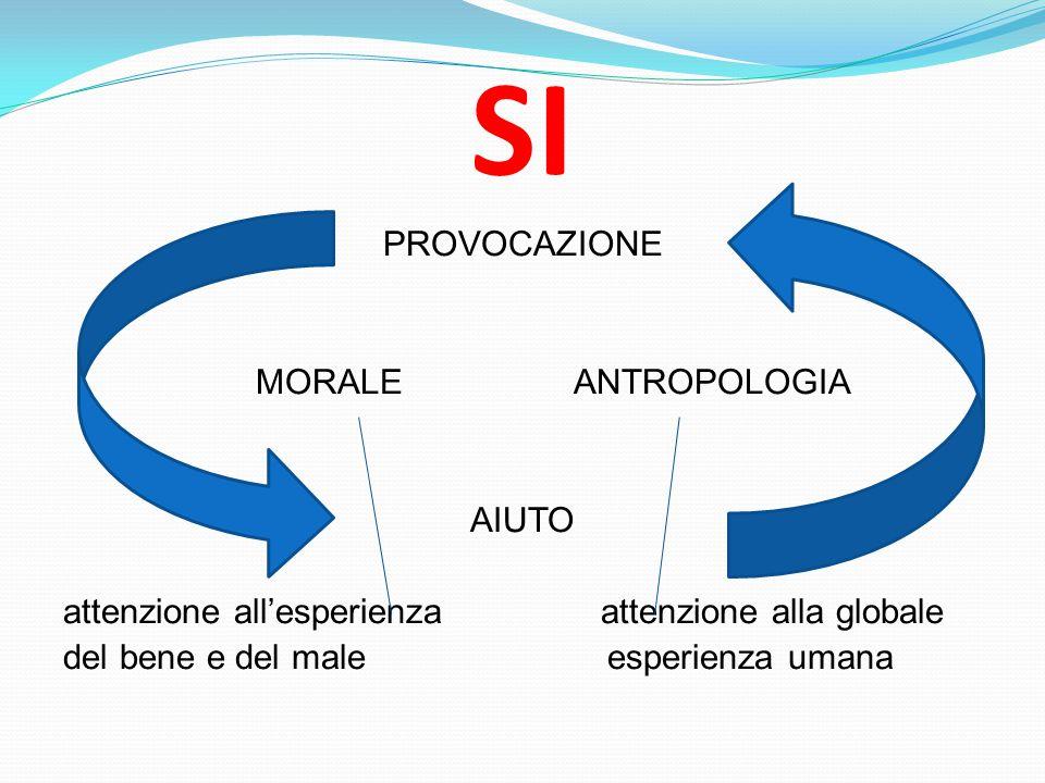 SI PROVOCAZIONE MORALE ANTROPOLOGIA AIUTO attenzione all'esperienza attenzione alla globale del bene e del male esperienza umana