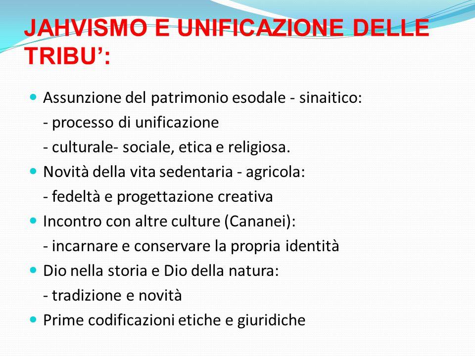JAHVISMO E UNIFICAZIONE DELLE TRIBU':