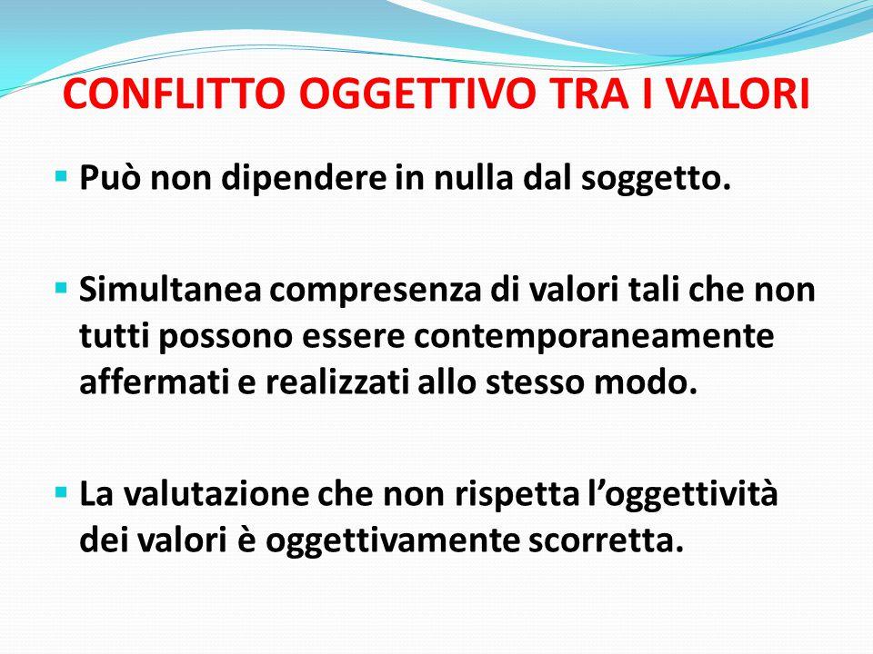 CONFLITTO OGGETTIVO TRA I VALORI