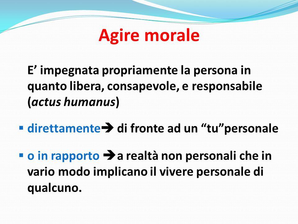 Agire morale E' impegnata propriamente la persona in quanto libera, consapevole, e responsabile (actus humanus)