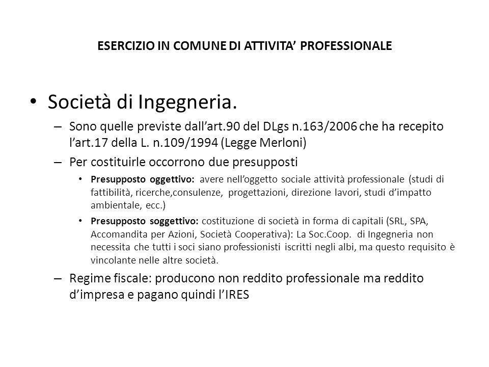 ESERCIZIO IN COMUNE DI ATTIVITA' PROFESSIONALE