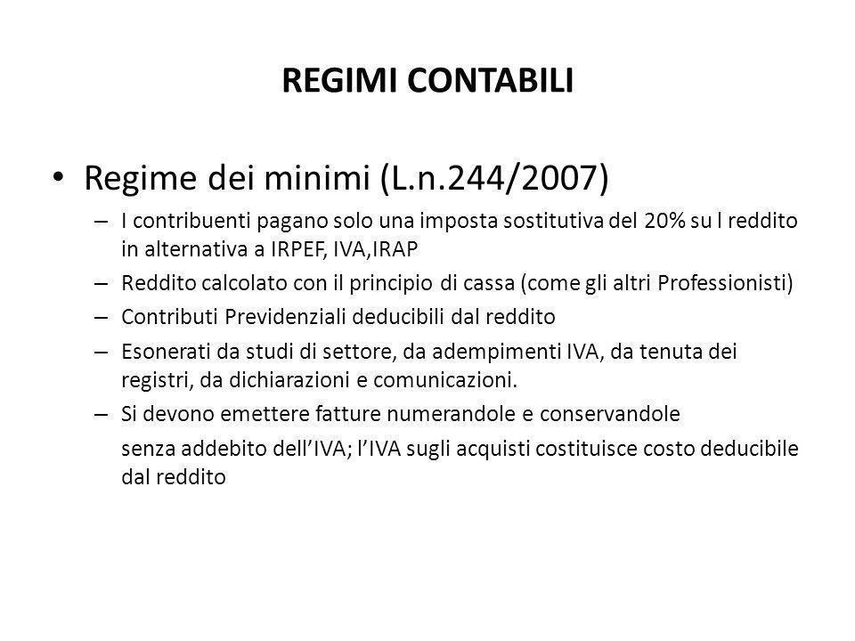 Regime dei minimi (L.n.244/2007)