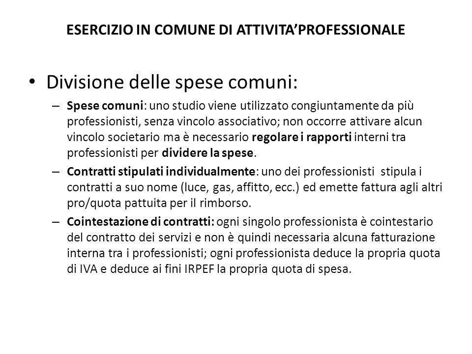 ESERCIZIO IN COMUNE DI ATTIVITA'PROFESSIONALE