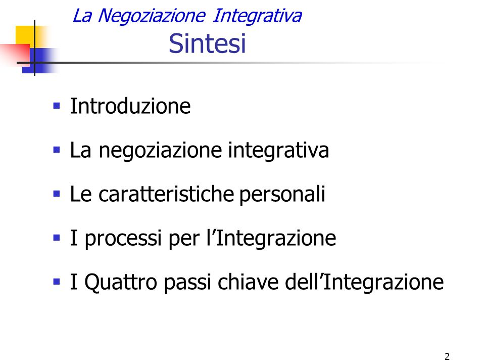 La Negoziazione Integrativa Sintesi