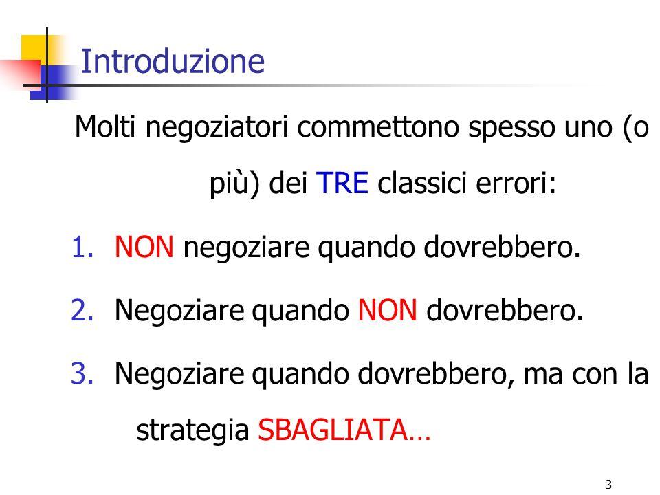 Introduzione Molti negoziatori commettono spesso uno (o più) dei TRE classici errori: NON negoziare quando dovrebbero.