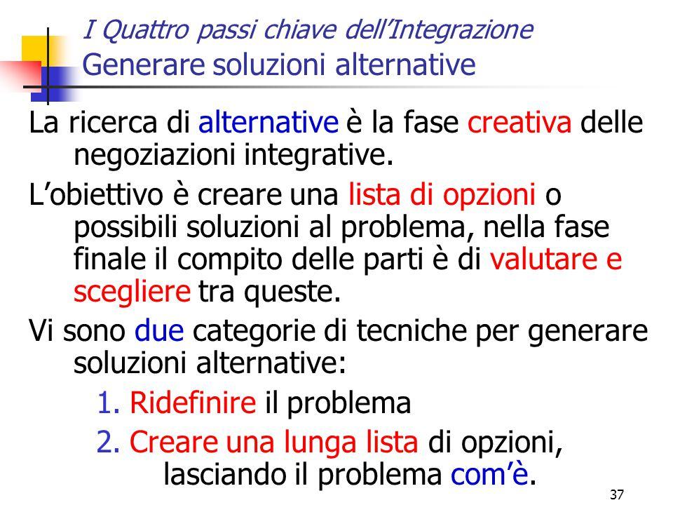 Vi sono due categorie di tecniche per generare soluzioni alternative: