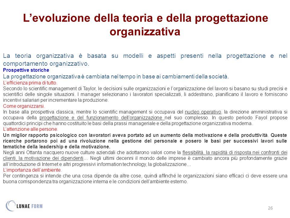 L'evoluzione della teoria e della progettazione organizzativa