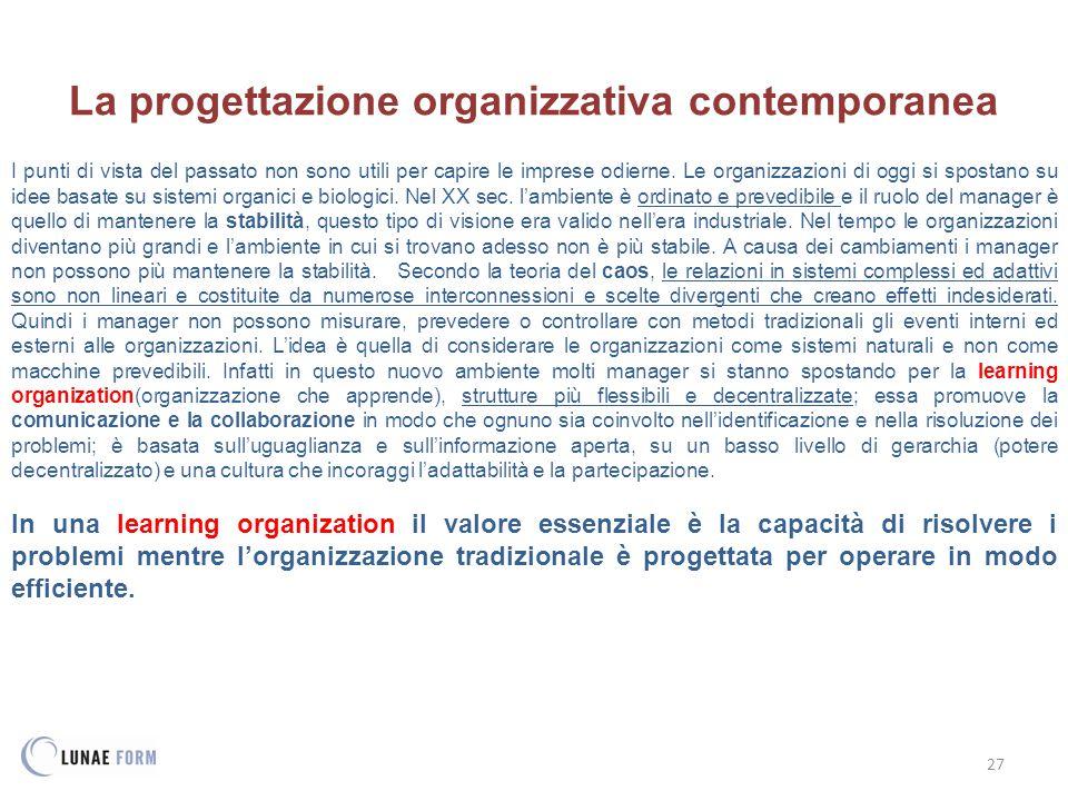 La progettazione organizzativa contemporanea