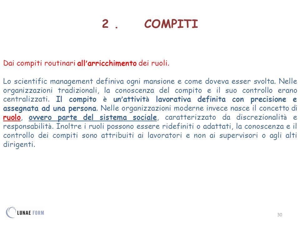 2 . COMPITI Dai compiti routinari all'arricchimento dei ruoli.