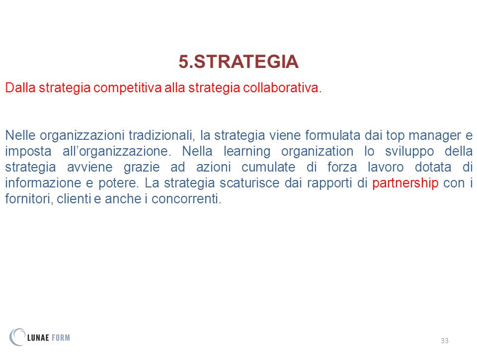 STRATEGIA Dalla strategia competitiva alla strategia collaborativa.