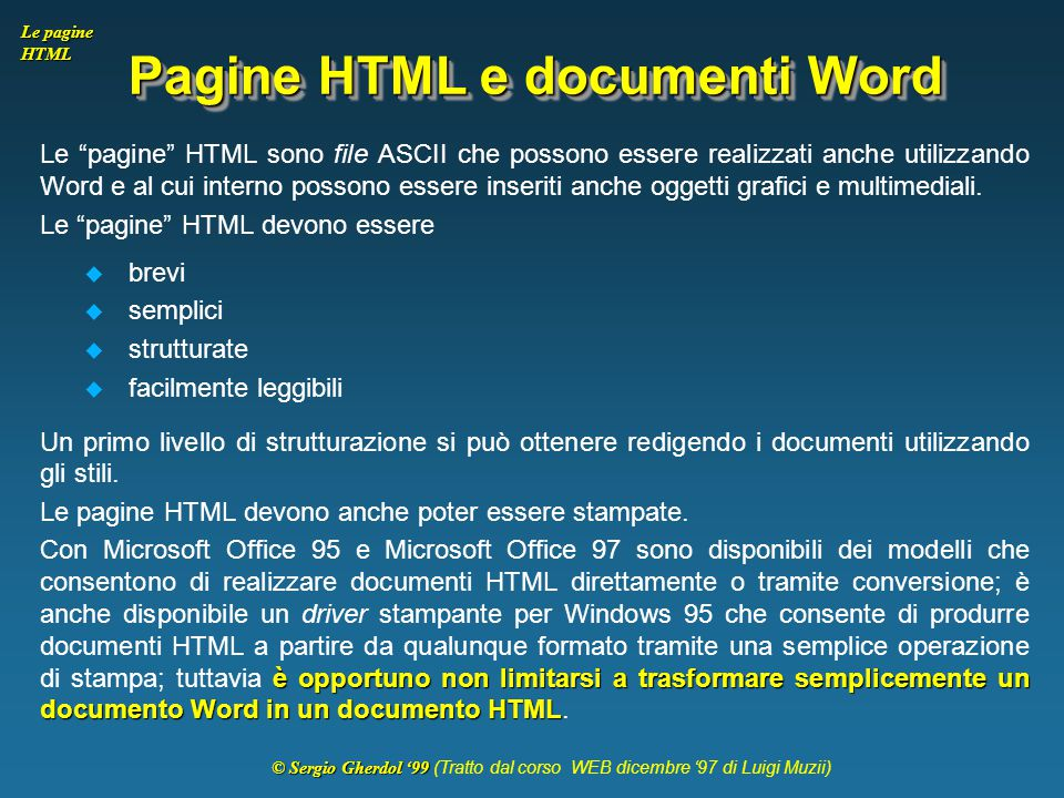 Pagine HTML e documenti Word