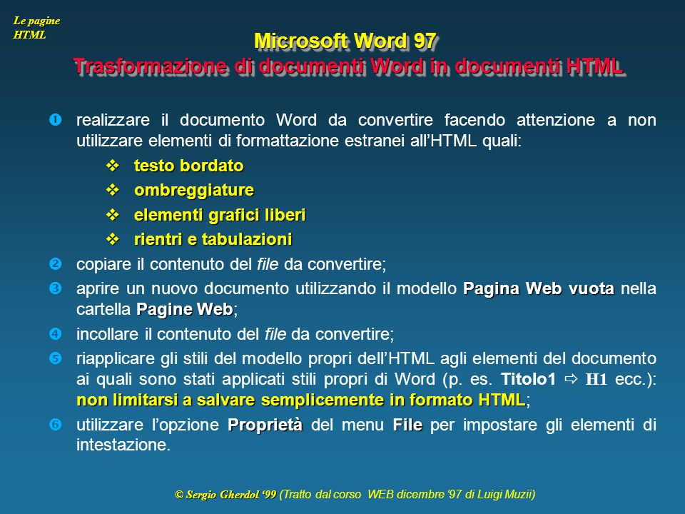 Microsoft Word 97 Trasformazione di documenti Word in documenti HTML
