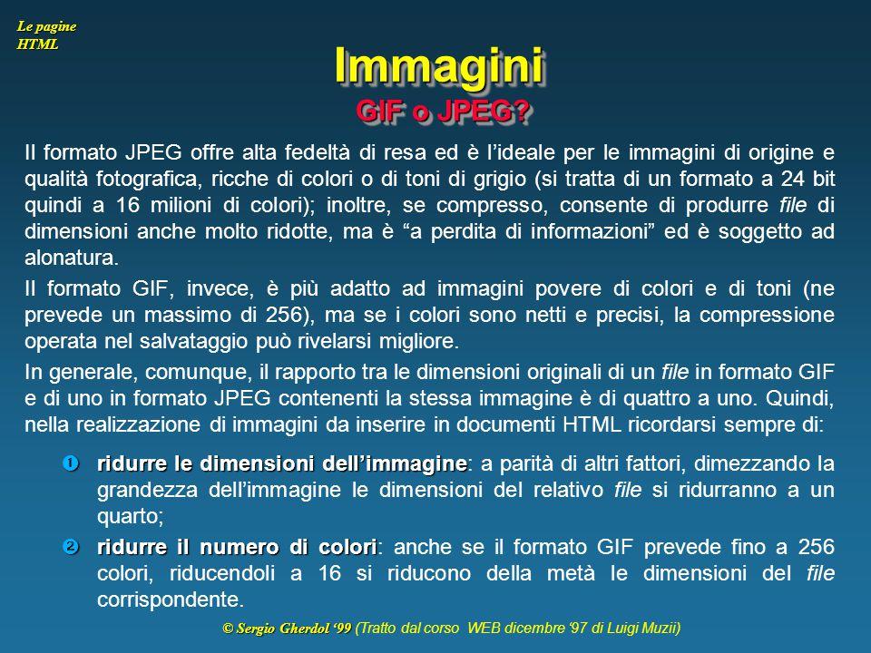 Immagini GIF o JPEG