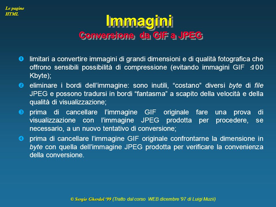 Immagini Conversione da GIF a JPEG